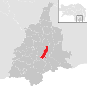 Location of the municipality Wagna in the Leibnitz district (clickable map)