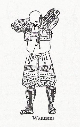 Auxiliary armour (Japan) - Edo period print of a samurai putting on a wakibiki.