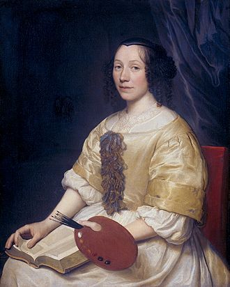 1671 in art - The painter Maria van Oosterwijck, by Wallerant Vaillant (1671)