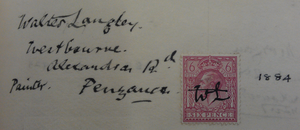 Walter Langley - Langley's entry in the Royal Birmingham Society of Artists members' register; in his own hand. Dated 1884 and with an initialled postage stamp.