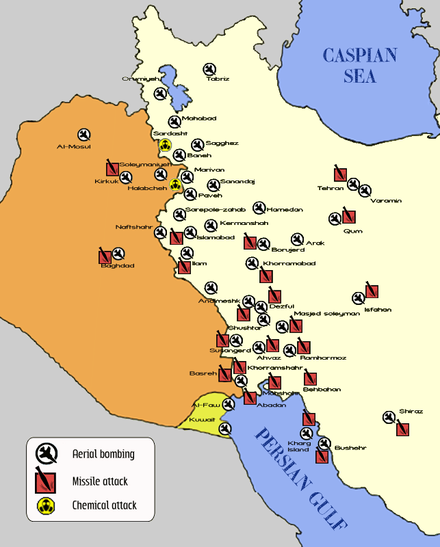 "A map indicating the attacks on civilian areas of Iran, Iraq, and Kuwait targeted during the ""War of the cities"". War of the Cities map.png"