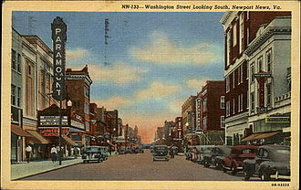Newport News, Virginia - Washington Avenue, downtown, in the 1940s