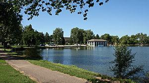 Washington Park, Denver - Smith Lake and the 1913 Boat House in Washington Park in Denver.