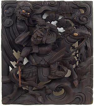 Watanabe no Tsuna - Watanabe no Tsuna fighting Ibaraki, mid Edo-period wood carving