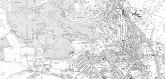 1920 OS map of Watford showing Cassiobridge at the bottom left corner