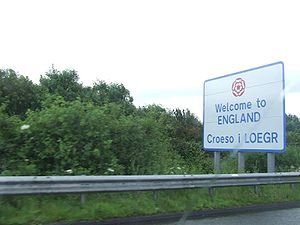 "England–Wales border - Bilingual ""Welcome to England"" sign"