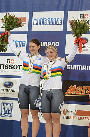Kristina Vogel - Welte and Vogel on the podium at the 2012 Track World Championships