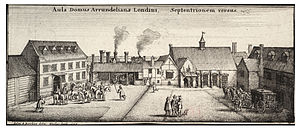 "Arundel House - Engraving of the west range of the stableyard (""aula"") of Arundel House by Adam Bierling, 1646, after a drawing by its tenant Wenceslas Hollar"