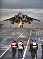 Wet Deck Landing for Harrier on HMS Ark Royal MOD 45151258.jpg