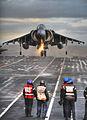 Wet Deck Landing for Harrier on HMS Ark Royal MOD 45151258.jpg