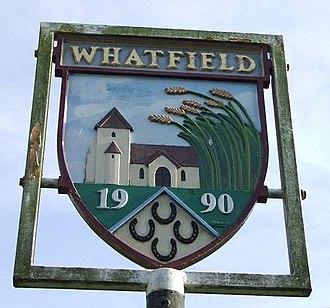 Whatfield - Image: Whatfield village sign geograph.org.uk 588434