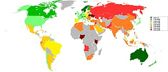 Where-to-be-born Index - Where to be born index 2013 World map
