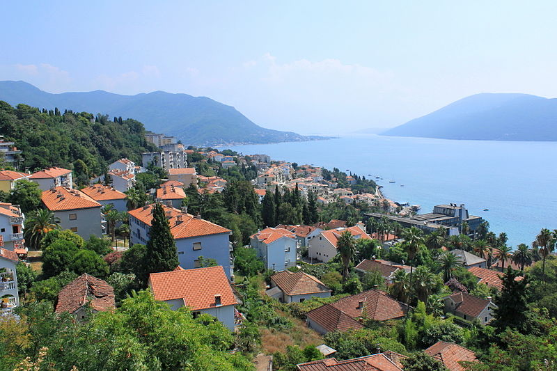 The views from the Kanli Kula fortress on the city. Herceg Novi, Montenegro. Beach on the Krupac Lake in Nikšić, Montenegro