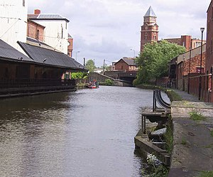 Wigan Pier - On the right, the reconstructed Wigan pier