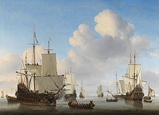 Willem van de Velde II - Dutch men-o'-war and other shipping in a calm.jpg