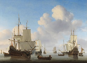 Willem van de Velde the Younger - Dutch men-o'-war and other shipping in a calm. c. 1665