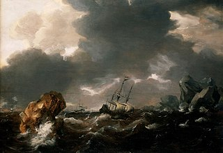 A Dutch Merchant Ship Running Between Rocks in Rough Weather