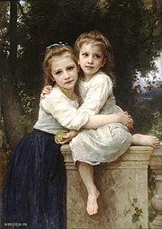 Deux sœurs forment une fratrie(peinture de William Bouguereau - XIXesiècle)