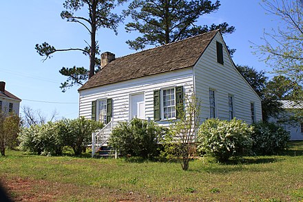 The home of Travis and Rosanna, relocated to Perdue Hill, Alabama and restored in 1985 William B. Travis House 002.JPG