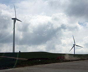 Energy technology - Wind turbines on Inner Mongolian grassland