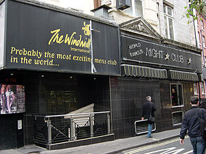 Great Windmill Street - The Windmill Club, formerly the Windmill Theatre, now a table dancing club.