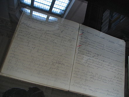 Entries from October 1914 in Wittgenstein's diary, on display at the Wren Library, Trinity College, Cambridge