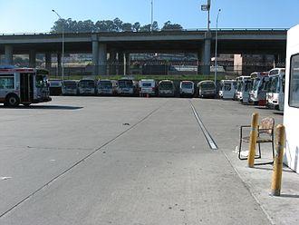 San Francisco Municipal Railway fleet - Woods Division with part of the Muni diesel bus fleet