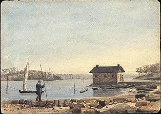 Woolloomooloo - Woolloomooloo Bay in 1855 (watercolour)