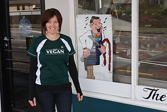 World Vegan Day - Vegan activists visit local butchers to give them the gift of tofu.