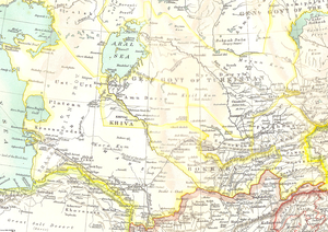 Russian Turkestan - The borders of the Russian imperial territories of Kiva, Bukhara and Kokand in the time period of 1902–1903.