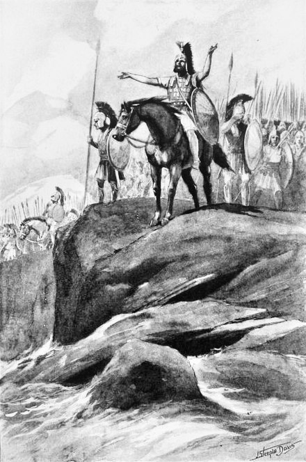 Xenophon leading his Ten Thousand through Persia to the Black Sea. 19th-century illustration