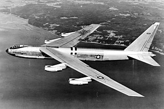 Boeing B-52 Stratofortress - Side view of YB-52 bomber, with bubble canopy similar to that of the B-47