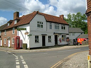 Yalding - The Post Office, on the High Street, at the end of Town Bridge -ship lap and peg tiles.