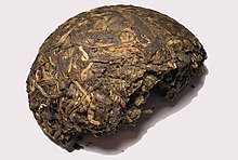 Pu'er stagionato, si noti il tono di arancio-bruno delle foglie più leggere a causa del processo di fermentazione.
