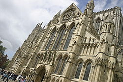 The south transept facade at York Minster presents a composition in untraceried pointed arches.