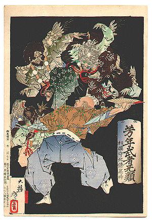 Hōjō Takatoki - Hōjō Takatoki fighting with a group of tengu, as depicted in a print by Yoshitoshi.