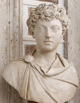 A bust of young Marcus Aurelius (Capitoline Museum). Anthony Birley, his modern biographer, writes of the bust: 'This is certainly a grave young man.' Young Marcus Aurelius Musei Capitolini MC279.jpg