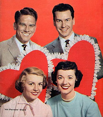 Your Hit Parade - Your Hit Parades TV vocalists (top, l. to r.): Snooky Lanson, Russell Arms and (bottom, l. to r.) Dorothy Collins, Gisèle MacKenzie.