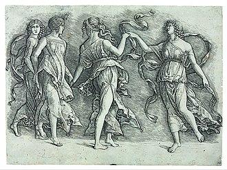 Giovanni Antonio da Brescia - Image: Zoan Andrea (?) Four Dancing Muses Google Art Project