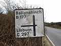 """C"" road sign near Ballynahinch - geograph.org.uk - 1739708.jpg"