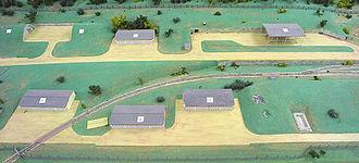 Bosnian War - Model of the Čelebići camp, near Konjic, presented as evidence in the Mucić et al. trial