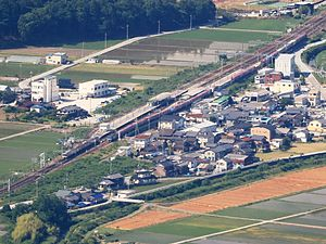 Ōmi-Nagaoka Station - Image: Ōmi Nagaoka Station from Mount Ibuki