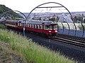 Žižkov, vlak od Vítkovských tunelů, pohled na Karlín.jpg