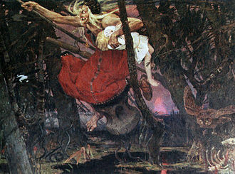 Russian science fiction and fantasy - Evil witch Baba Yaga at a painting by Victor Vasnetsov, a late 19th-century Russian artist who specialized in paintings of Russian mythology