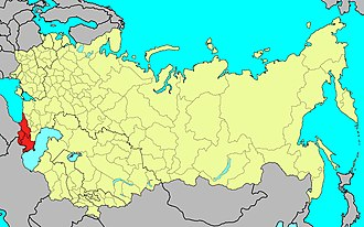 Transcaucasian Military District - Location of the Transcaucasian Military District (red) in the Soviet Union, 1991