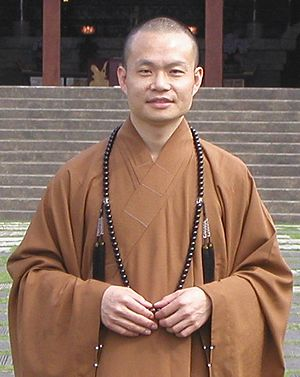 Buddhist monasticism - A Buddhist monk in Kaohsiung, Taiwan, wearing the robes of an abbot in a monastery