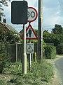 -2018-10-01 Pedestrian-related warning road sign, Trimingham, Norfolk.JPG
