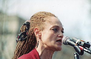 Kathleen Cleaver - Cleaver speaking at Free U.S. Political Prisoners Spring Break Jericho March Rally on 27 March 1998