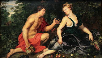 Pomona (mythology) - Vertumnus and Pomona by Peter Paul Rubens, 1617–1619, private collection in Madrid.