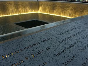 David Angell - The names of David Angell and his wife are located atop Panel N-1 of the National September 11 Memorial's North Pool, along with other passengers from Flight 11.